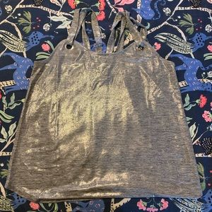 Silver Metallic Strappy Tank/Cami with